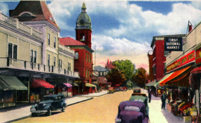Main Street Warren RI Postcard